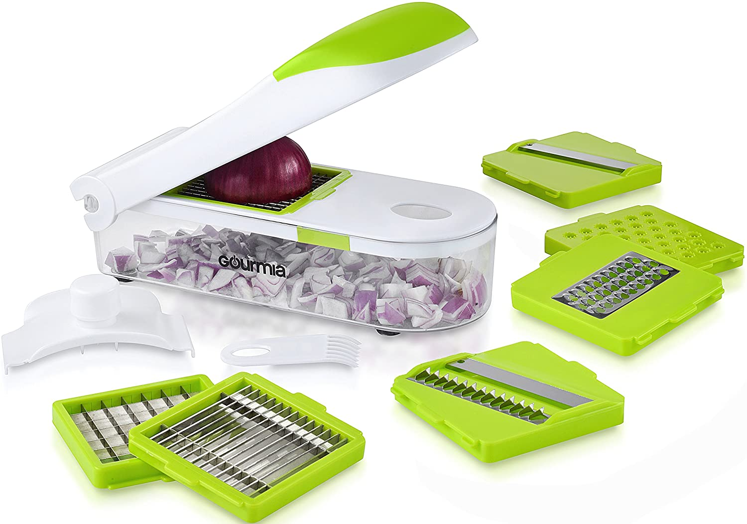 Gourmia GCU9215 Multipurpose Kitchen Dicer Set Mandoline, Julienne, Slicer, Chopper, Shredder,and Grater Set With 7 Interchangeable Stainless Steel Blades,Hand Guard,Storage Lid& Cleaning Tool,BPA free
