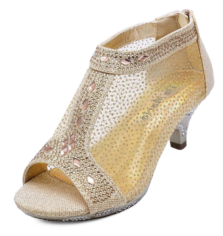 643ad974ca9 Girls Childrens Gold Party Zip-Up Kids Low Heel Diamante Peeptoe ...