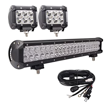 81T7UU6tfhL._SY355_ amazon com bangbangche 20'' 126w flood spot combo cree led light 20 inch led light bar with wiring harness at creativeand.co