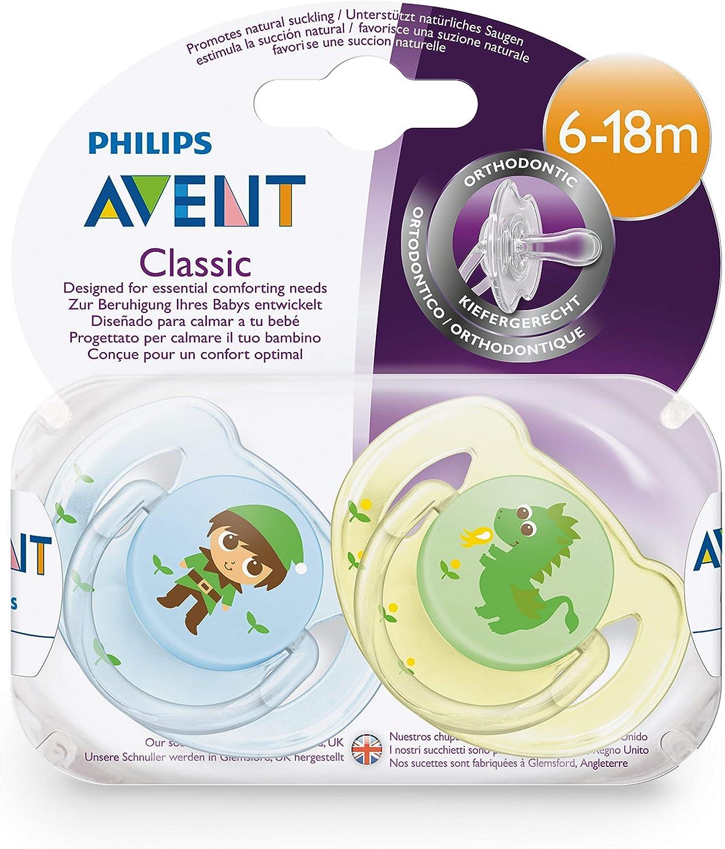 multicolor Philips Avent Classic Set de 2 chupetes decorados para ni/ñas de 6 a 18 meses
