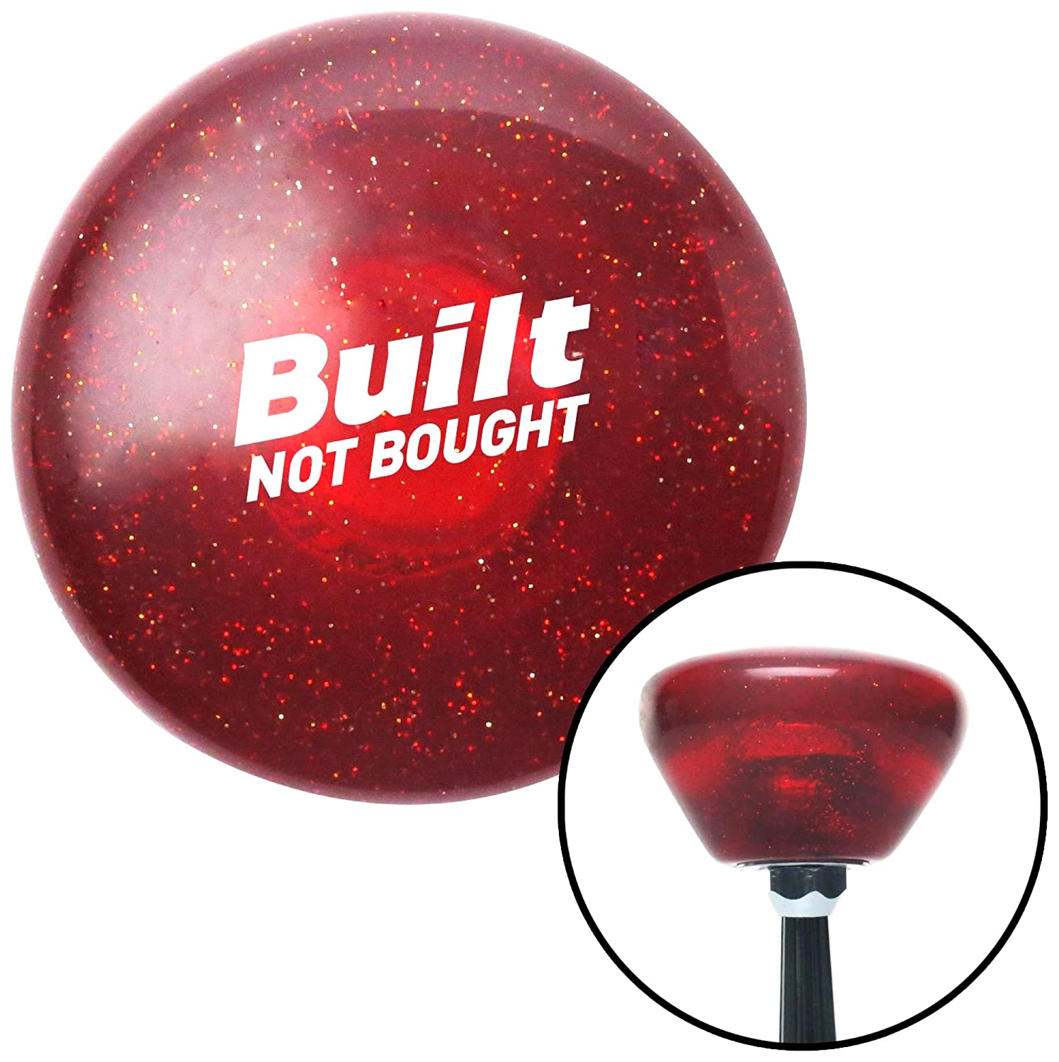 American Shifter 327717 Black Built Not Bought Simple Red Retro Metal Flake Shift Knob with M16 x 1.5 Insert