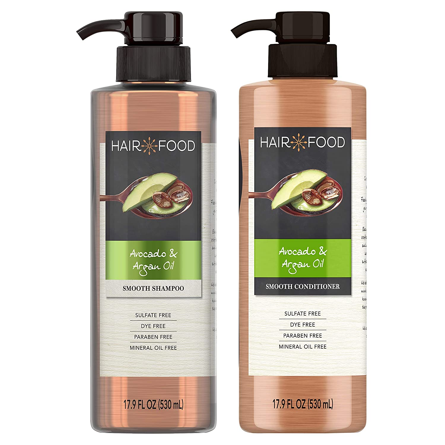 Hair Food, Sulfate Free Shampoo and Conditioner, with Argan Oil and Avocado, 17.9 Oz, Dual Pack