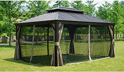 Kozyard Caesar - Cenador permanente de aluminio de tapa dura con mosquitera, 25, 4 x 30, 5 cm: Amazon.es: Jardín