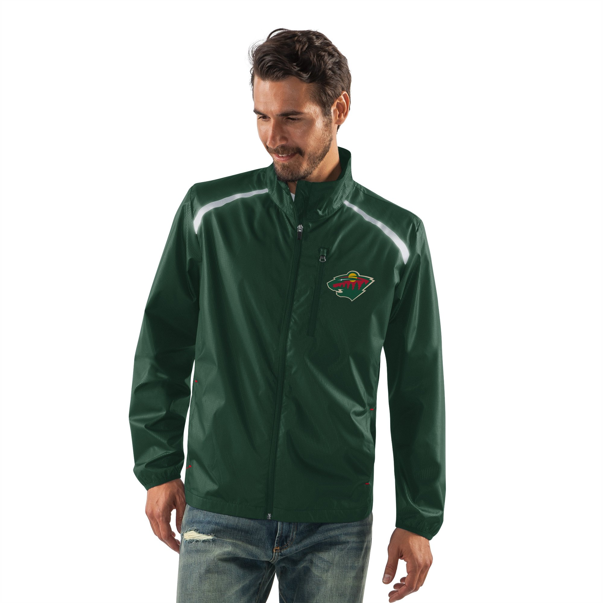 G-III Sports NHL Minnesota Wild Men's Storm Full Zip Packable Jacket, Large, Green