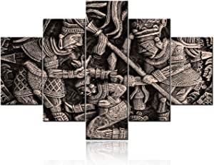 5 Piece Wall Art Ancient Mexican Tribe Pictures Aztec and Mayan Paintings Printed on Canvas Indian Artwork for Living Room Contemporary House Decor Framed Gallery-Wrapped Ready to Hang(60''W x 40''H)