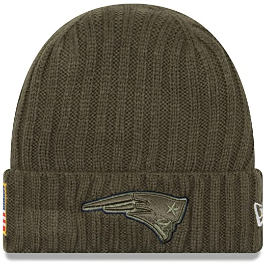 New Era Men s Men s Patriots 2017 Salute to Service Cuffed Knit Hat Olive  Size ... 46d418eb8