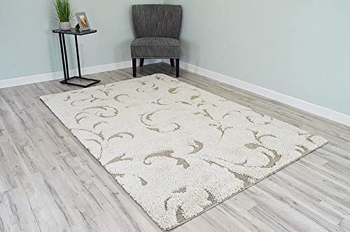 PlanetRugs Inc Roma Shaggy Soft and Plush Contemporary Modern Geometric Shag Rug 5×8 5×7 99151 Cream
