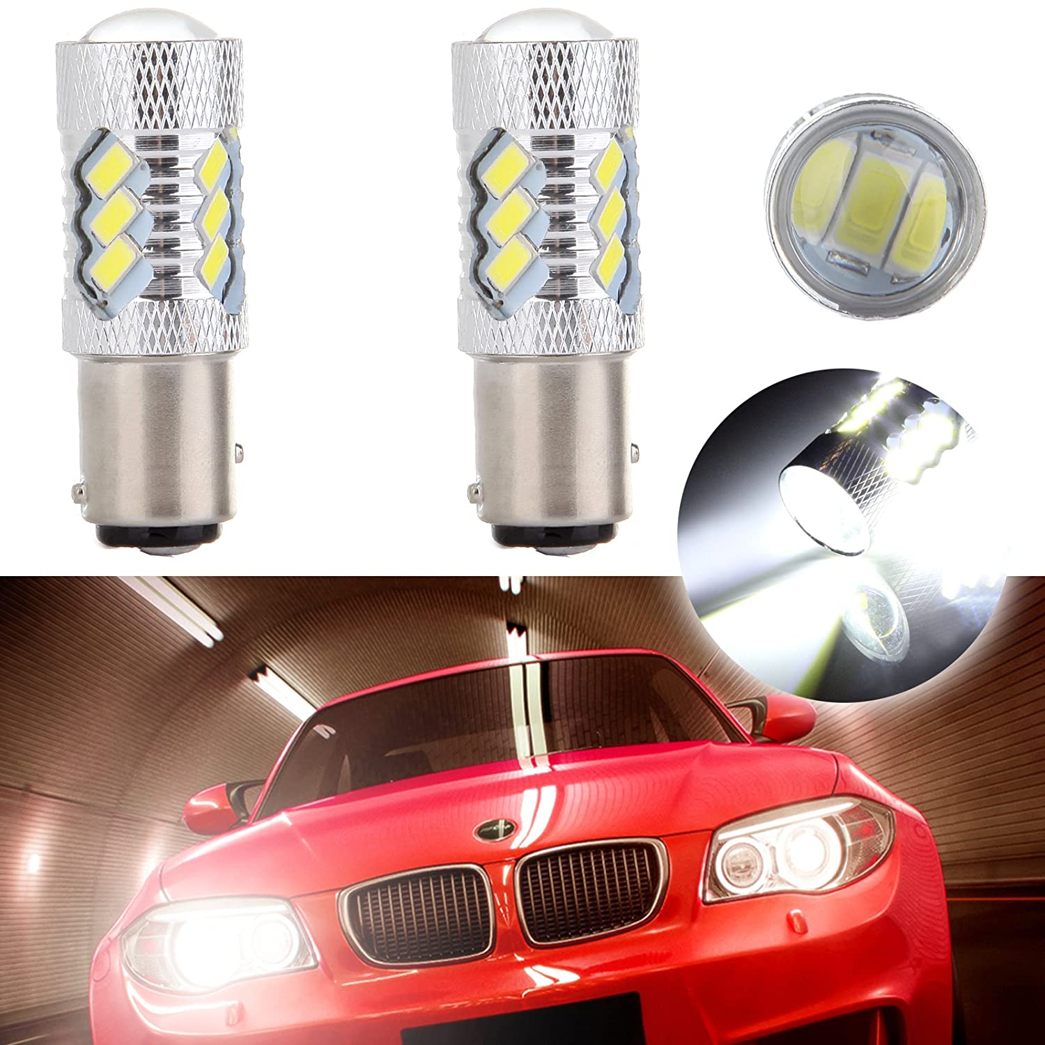 cciyu 2 Pack White 60W 6000LM 6000K Ultra 1157 BAY15D Cree LED 15 SMD Tail Bulb Lights 12V