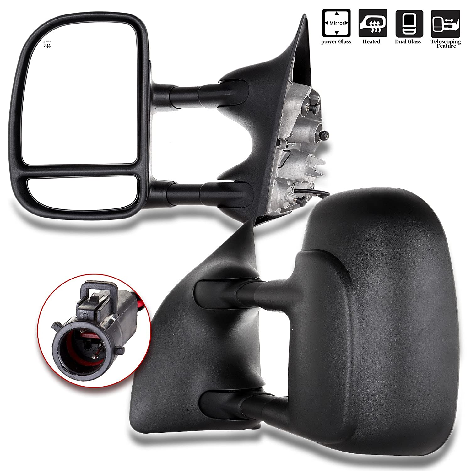 SCITOO 1999-2007 Ford F250 F350 F450 Pair Power Towing Mirrors Side View Mirrors Fit 1999 2000 2001 2002 2003 2004 2005 2006 2007 Super Duty Truck 050261-5206-1028096