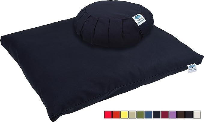 Riempito con Saggina Cotone CalmingBreath Yoga Set Cuscino da Meditazione e Tappetino Colori Fantastici!