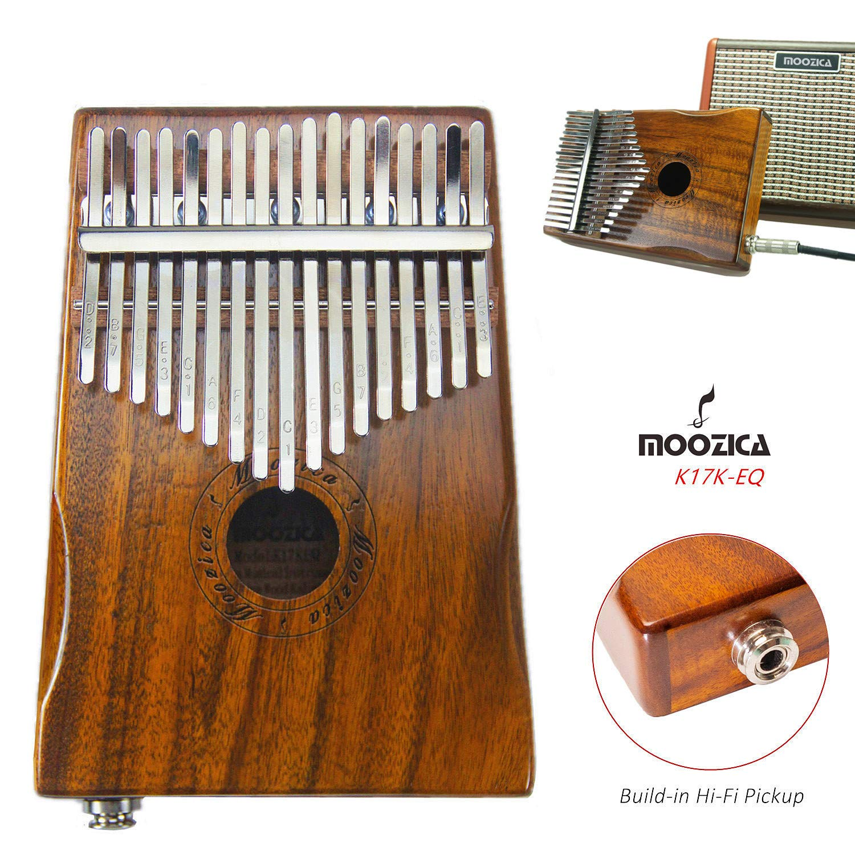 Moozica 17-Key EQ Kalimba, Koa Tone Wood Electric Finger Thumb Piano Built-in Pickup With 6.35mm Audio Interface and Professional Kalimba Bag by Moozica (Image #3)