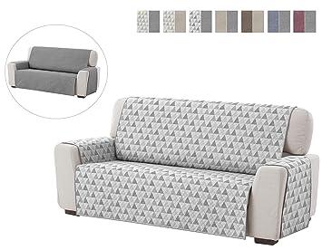Textilhome - Funda Cubre Sofá Dante, 4 Plazas, Protector para Sofás Acolchado Reversible. Color Gris C/6