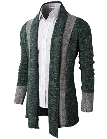 9fc4d050b H2H Men s Casual Slim Full Zip Thick Knitted Cardigan Sweaters With Pockets  KHAKI US XL