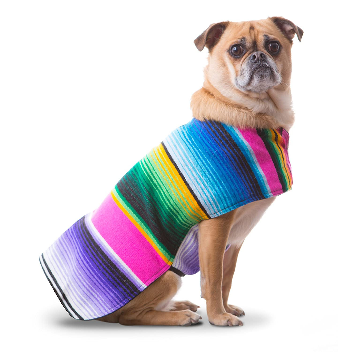 Medium Baja Ponchos Dog Clothes Handmade Dog Poncho from Authentic Mexican Blanket (Pink No Fringe, Medium)