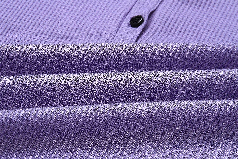 ROSDA Womens Waffle Knit Tunic Tops Loose Long Sleeve Button Up V Neck Henley Shirts