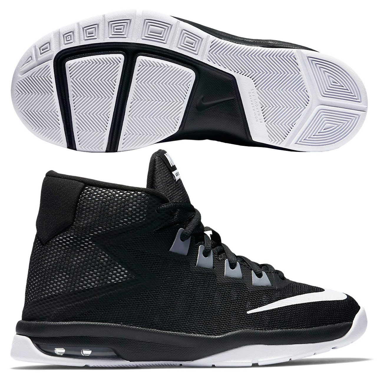 adae2c9e041c Nike Boy s Air Devosion (GS) Basketball Shoe Black White Cool Grey Size 7 M  US  Buy Online at Low Prices in India - Amazon.in