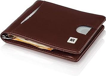 KRONIFY Cartera Hombre con Bolsillo para Monedas + Protección Robo RFID, Billetera Delgada con Bolsillo para Monedas Monedero para Hombres Cartera Tarjetera Negra con Estuche: Amazon.es: Equipaje