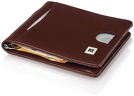 KRONIFY Cartera Hombre con Bolsillo para Monedas + Protección Robo RFID, Billetera delgada con Bolsillo