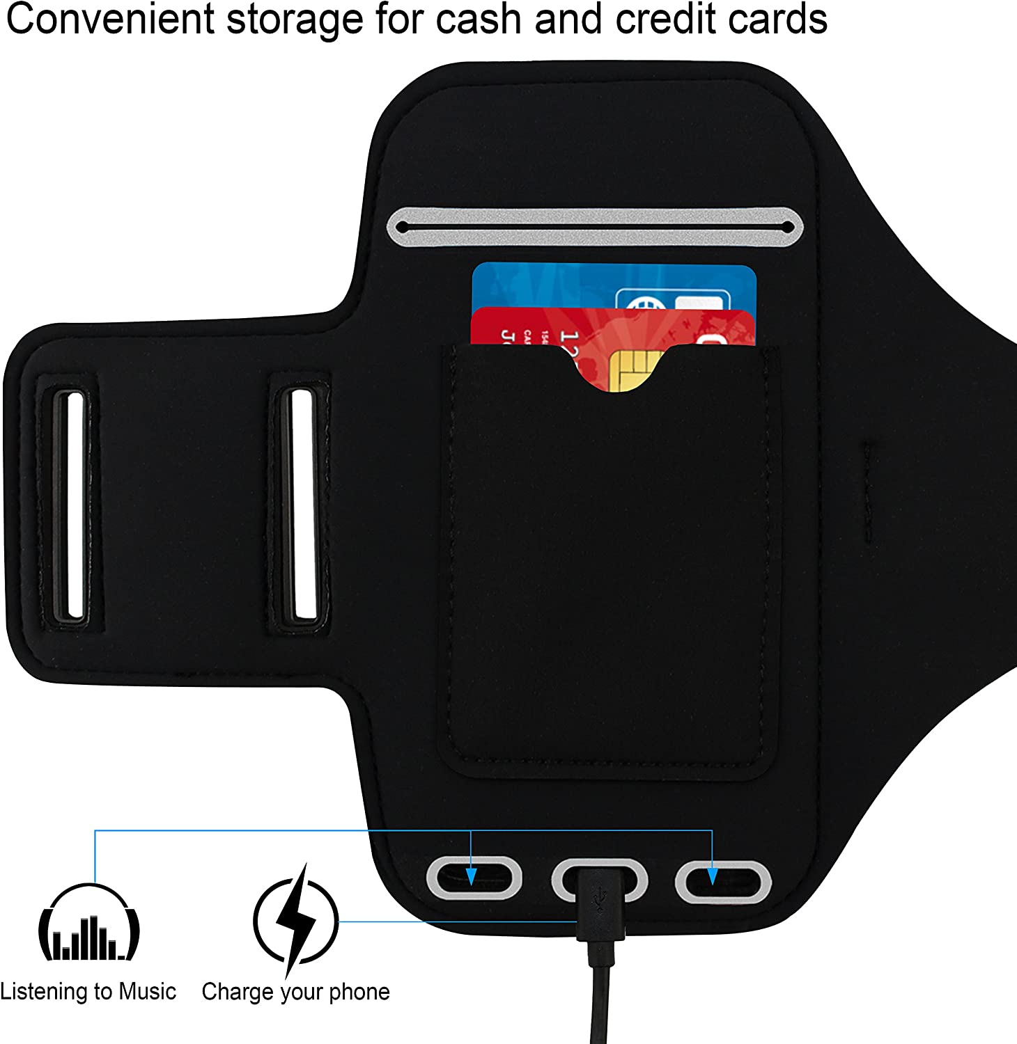 Water Resistant Sports Gym Armband Case for iPhone 8//7//6s //6 Plus.Fingerprint Touch Supported and Fits Smartphones with Slim Case,with Card Pockets SOSONS iPhone 8 Plus//iPhone 7 Plus Armband