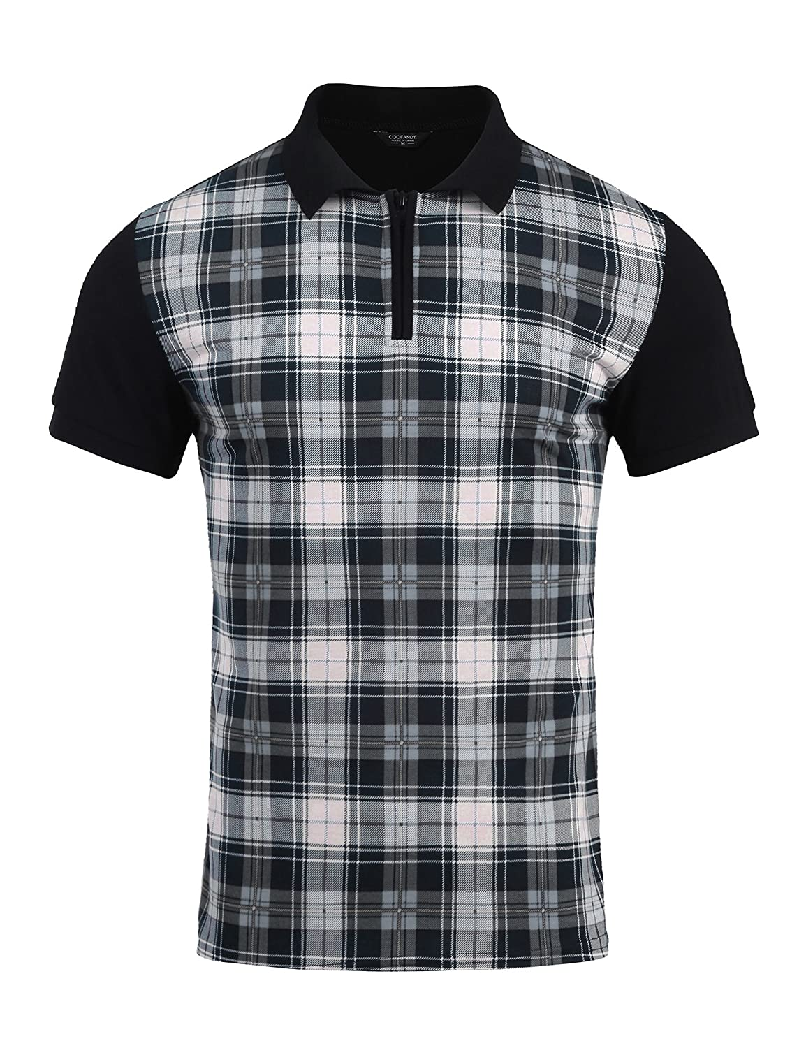 Vintage Shirts – Mens – Retro Shirts COOFANDY Mens Short Sleeve Plaid Zipper Shirts Collar Jersey Polo Shirt $19.99 AT vintagedancer.com