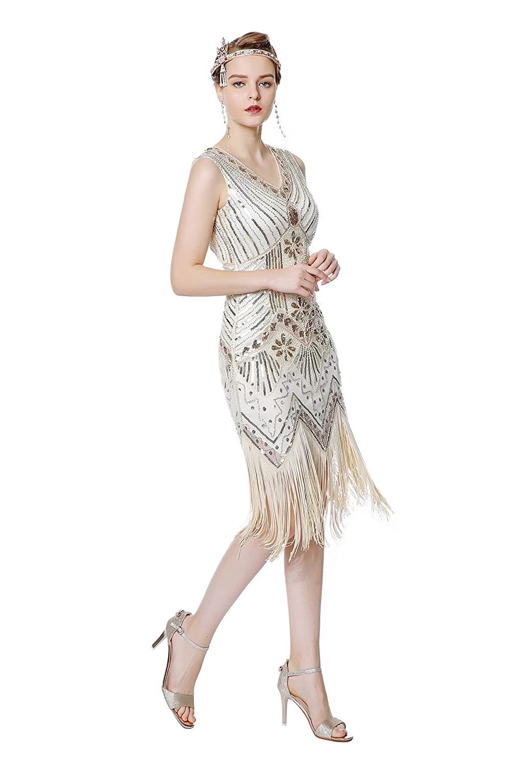 1920s Costumes: Flapper, Great Gatsby, Gangster Girl Metme Womens Flapper Dress 1920s V Neck Beaded Fringed Gatsby Theme Raoring 20s Dress for Prom $35.99 AT vintagedancer.com