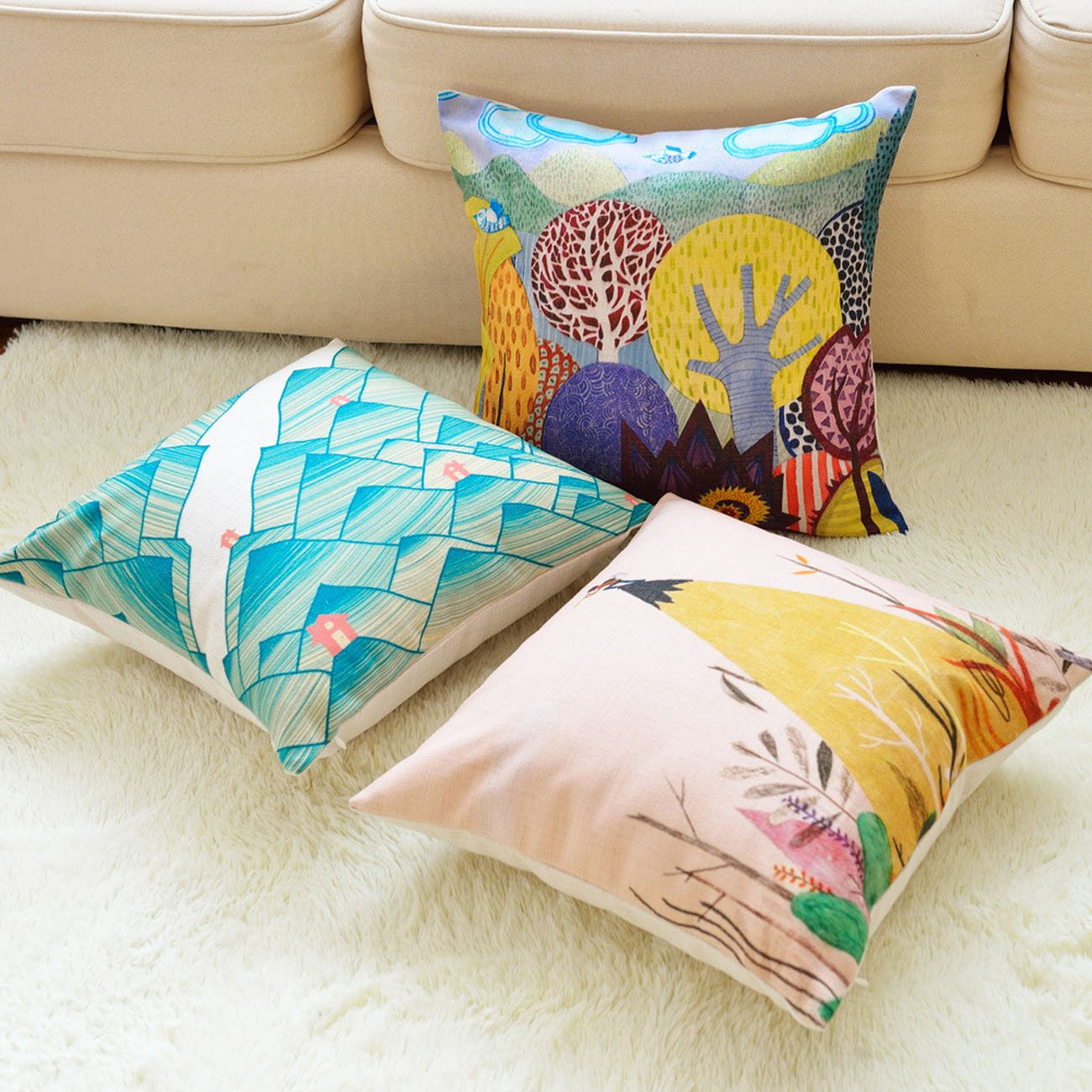 sykting Spring Pillow Covers 18 x 18 Decorative Cushion Cases Pack of 2 Sofa Pillow Shams Cotton Linen Colorful JWstyle1000
