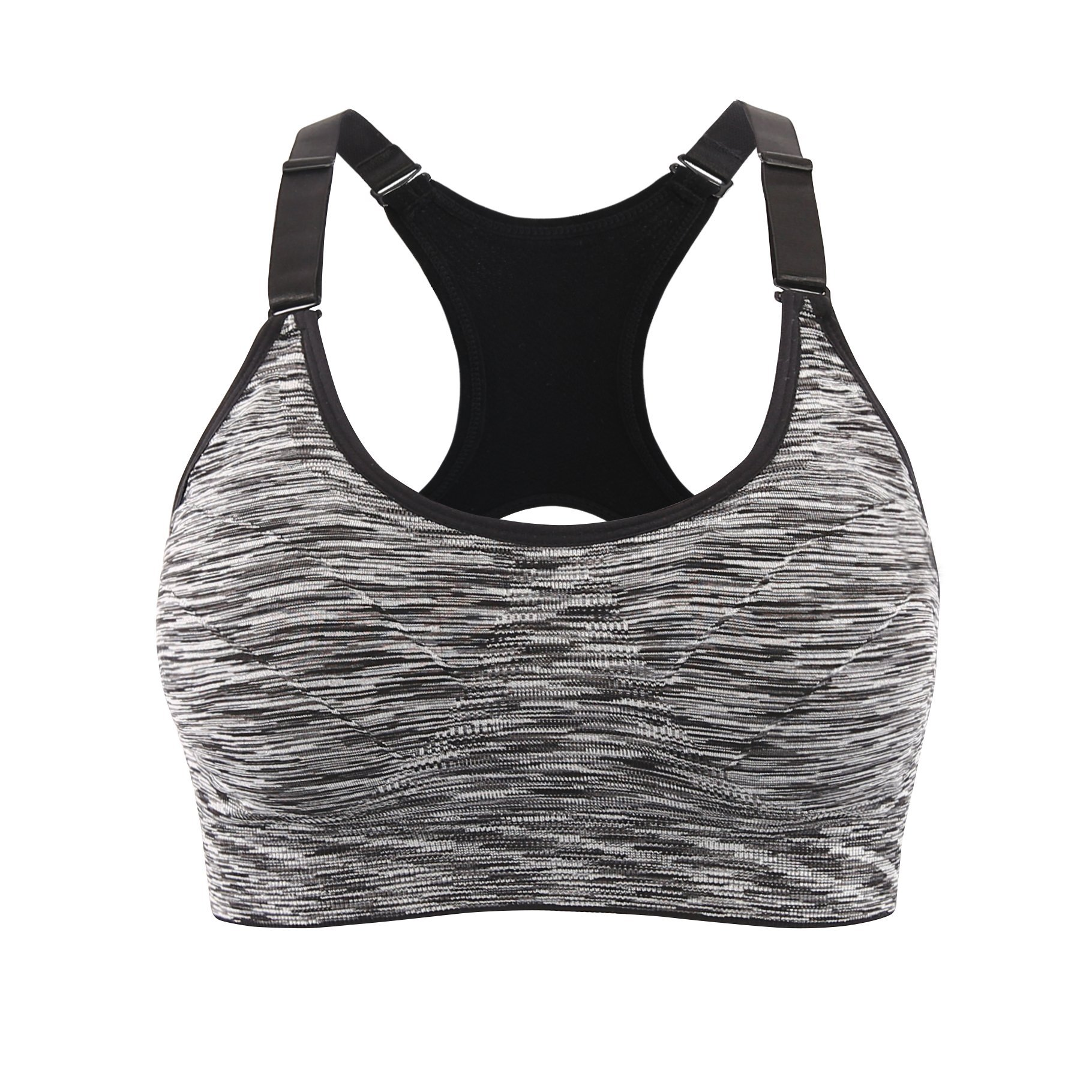 EMY Sports Bra Cami Space Dye Seamless Wirefree Stretchy Removable Pads for Fitness Gym Yoga Running (S, Black Marl)