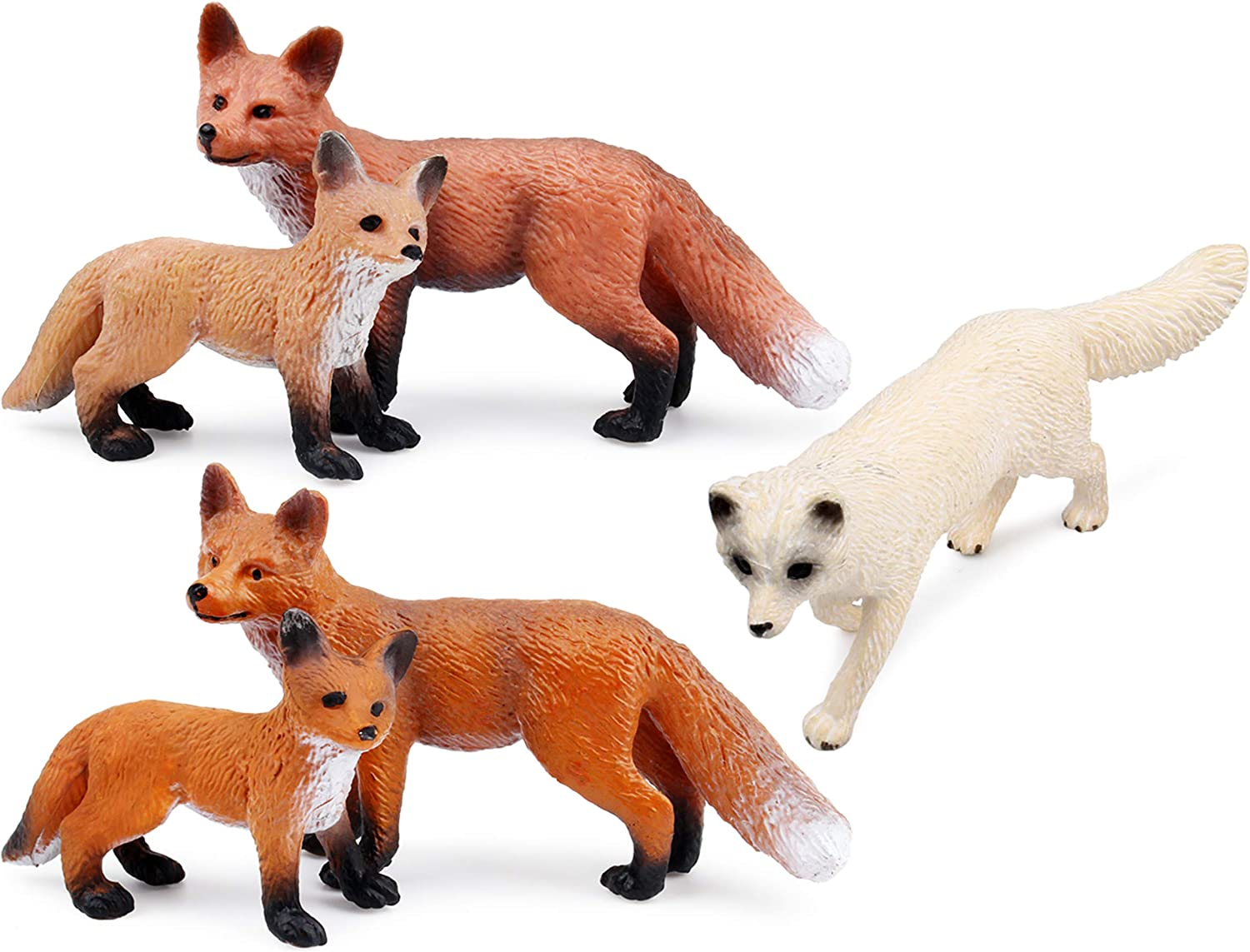 Amazon Com Fox Toy Figures Set Includes Arctic Fox Red Foxes Figurines Cake Toppers 5 Foxes Toys Games