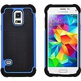 GizzmoHeaven Samsung Galaxy S5 Mini Hülle Stoßfest Handy Schutzhülle Stoßgedämpfter Extraharte Tasche Silikon Gel Hybrid Armor Cover Case Etui für Samsung Galaxy S5 Mini (SM-G800F) - Blau