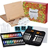 MEEDEN 48-Pcs Acrylic Painting Set- Deluxe Painting Kit with Beechwood Sketchbox Easel, 24×12ML Acrylic Paints, 12…