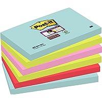 Post-it Super Sticky Notes Miami Collection 655-6SS-MIA – Selbstklebende Haftnotizzettel in 76 x 127 mm – 6 Notizblöcke rechteckig à 90 Blatt in 4 Farben