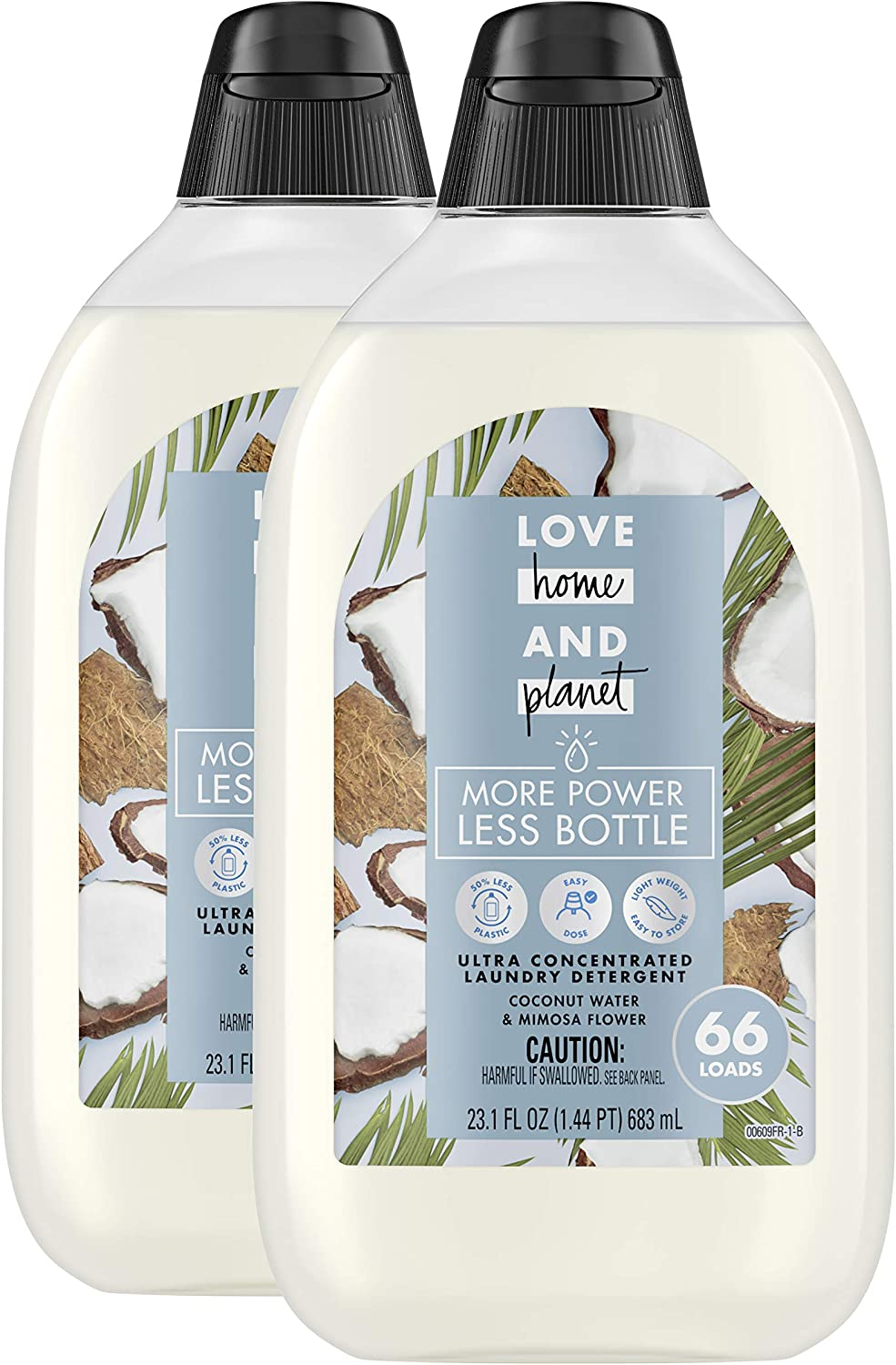 Love Home and Planet Ultra Concentrated Laundry Detergent, Coconut Water & Mimosa Flower (66 Loads Each), 23.1 Fl Oz, Pack of 2