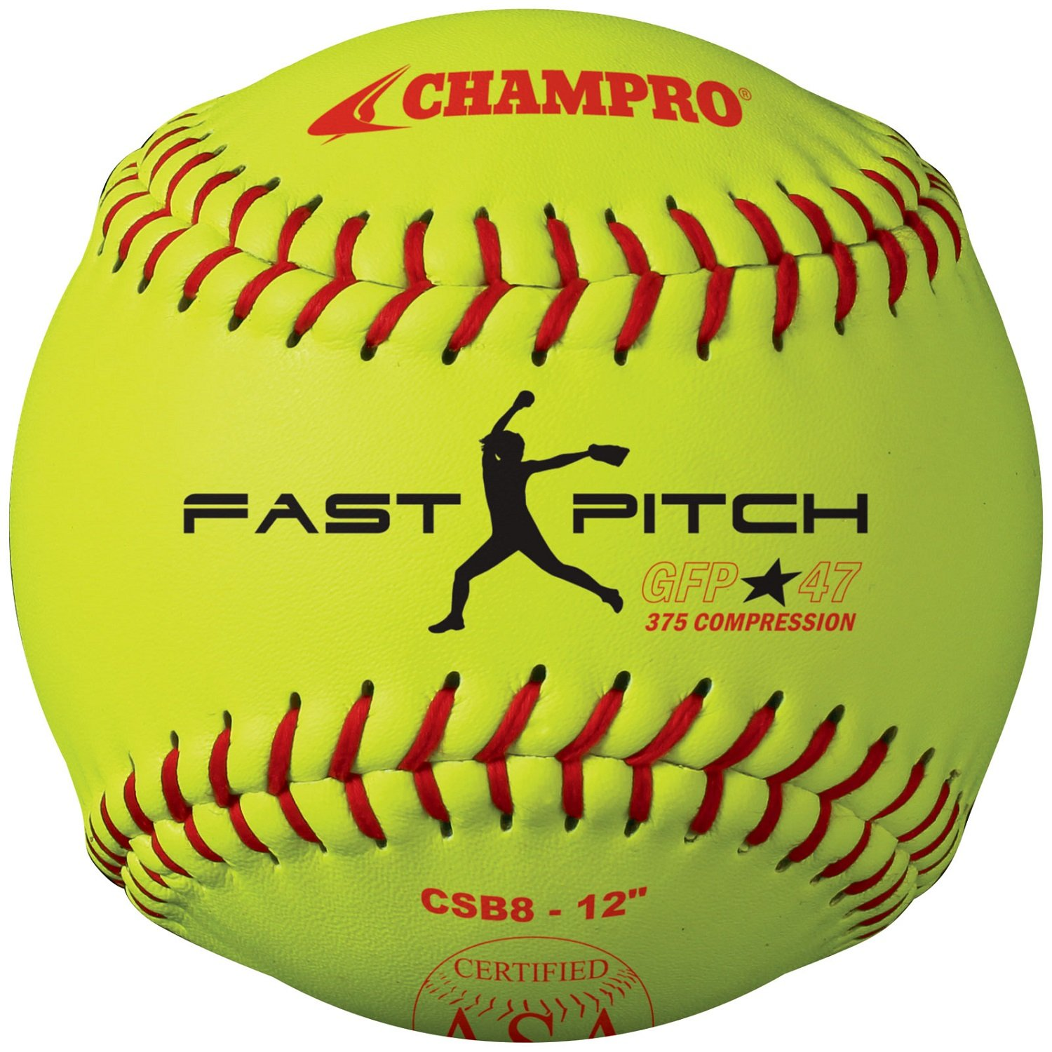 Champro Game ASA Pack Fastpitch .47 ASA COR, 375 Compression, 30cm Poly Synthetic Cover, Red Stiches (Optic Yellow, 30cm ), Pack of 12 B004HH781G, 平賀町:764a9ac7 --- sayselfiee.com