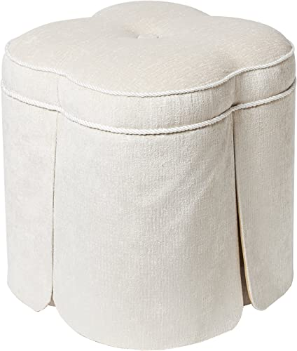 Jennifer Taylor Home Serina Collection Contemporary Yarn Dyed Putty Docorative Cord and Skirt Round Ottoman