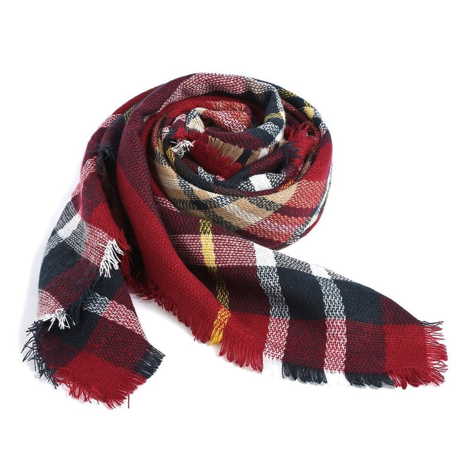 Plaid Tartan Blanket Shawl Scarf,Mutiple Fashion Warm Checked Scarves for Women in Winter Spring as Christmas Gift