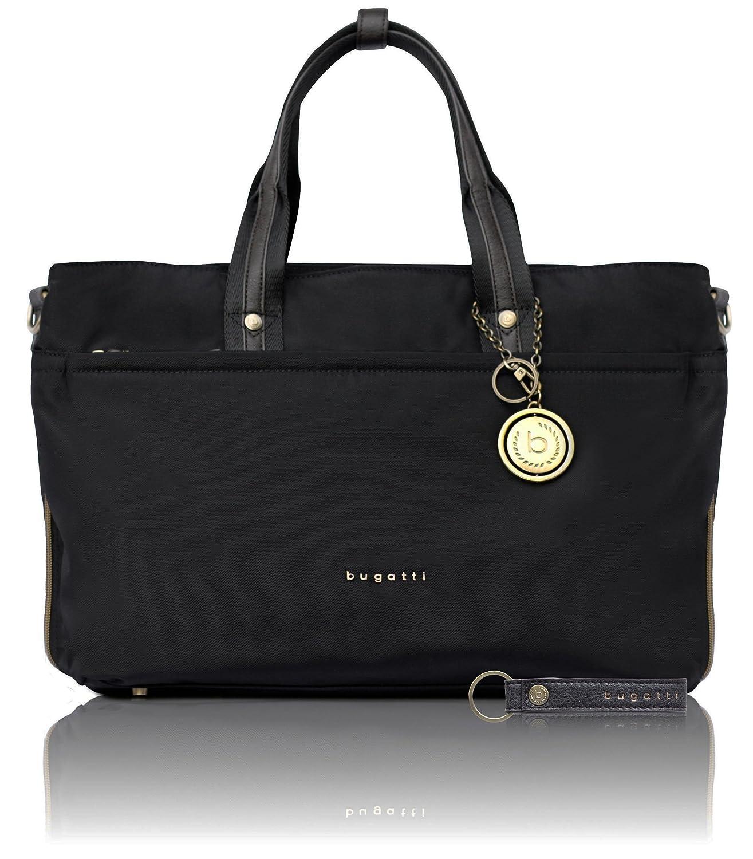 bugatti Contratempo RFID groß e Nylon Businesstasche fü r Damen - edle Handtasche in schwarz 49180201
