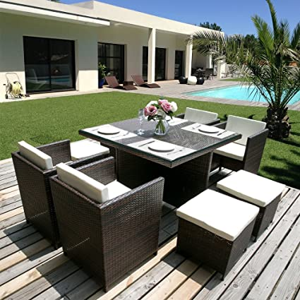 Merax 9 Piece Outdoor Cube Rattan Garden Furniture Set Wicker Rattan Desk  And Chairs (