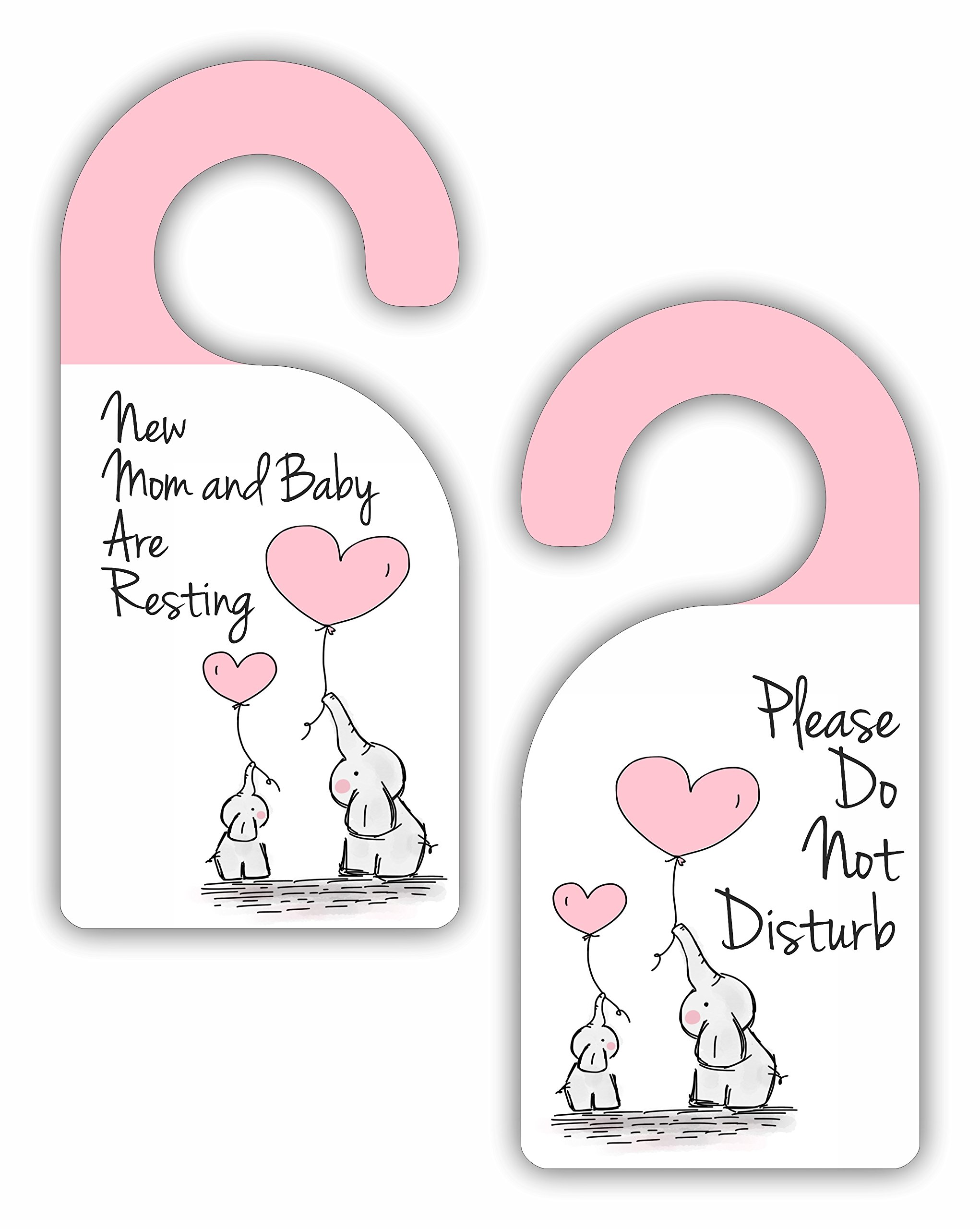 New Mom and Baby Are Resting - Please Do Not Disturb - Baby Girl - Room Door Sign Hanger - Double Sided - Hard Plastic - Glossy Finish