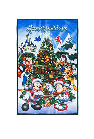 disney parks mickey mouse and pals christmas holiday yard flag happy holidays