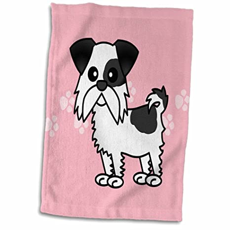 3dRose Cute Black and White Shih Tzu Pink with Paw Prints Towel 15 x 22