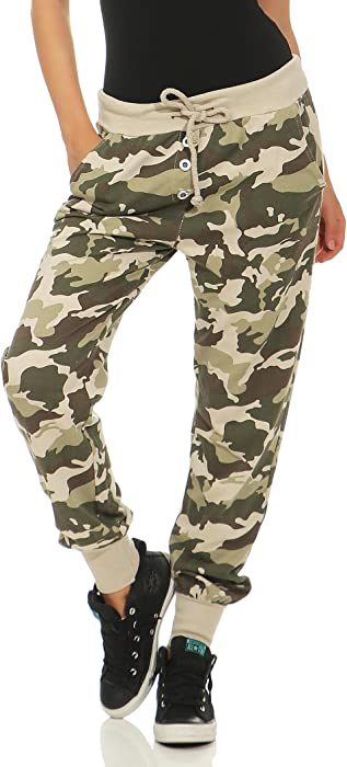 189f586d96c2c Malito Camouflage Boyfriend Pants Classic Baggy Trousers Aladin Bloomers  Yoga 8019 Women One Size (Beige): Amazon.co.uk: Clothing