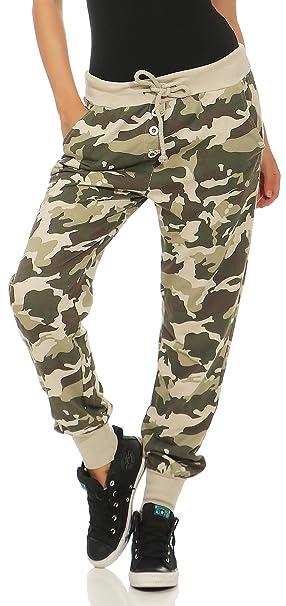 Malito Damen Sweathose im Camouflage Look   Baggy zum Tanzen   Jogginghose mit Knopfleiste   Sweatpants - Trainingshose 8019