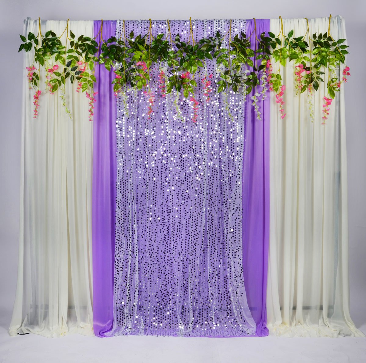 Kate 5x16ft Wedding Decoration White Purple Curtains Background for Party  Stage Shoot 4 Pieces of Ice Silk Cloth Included Glitter Decor