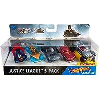 Mattel Hot Wheels Vehículo Justice League Autos, Paquete de 5