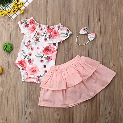 dbbd853c 3PCS Floral Baby Dress Summer Newborn Baby Girl Clothes Set Short Sleeve  Romper+ Tutu Skirt Summer