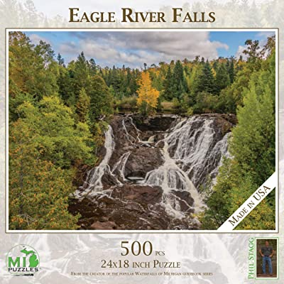 "Eagle River Falls - 500 Piece MI Puzzles Jigsaw Puzzle - 24"" x 18"" Interlocking - Made in USA: Toys & Games"