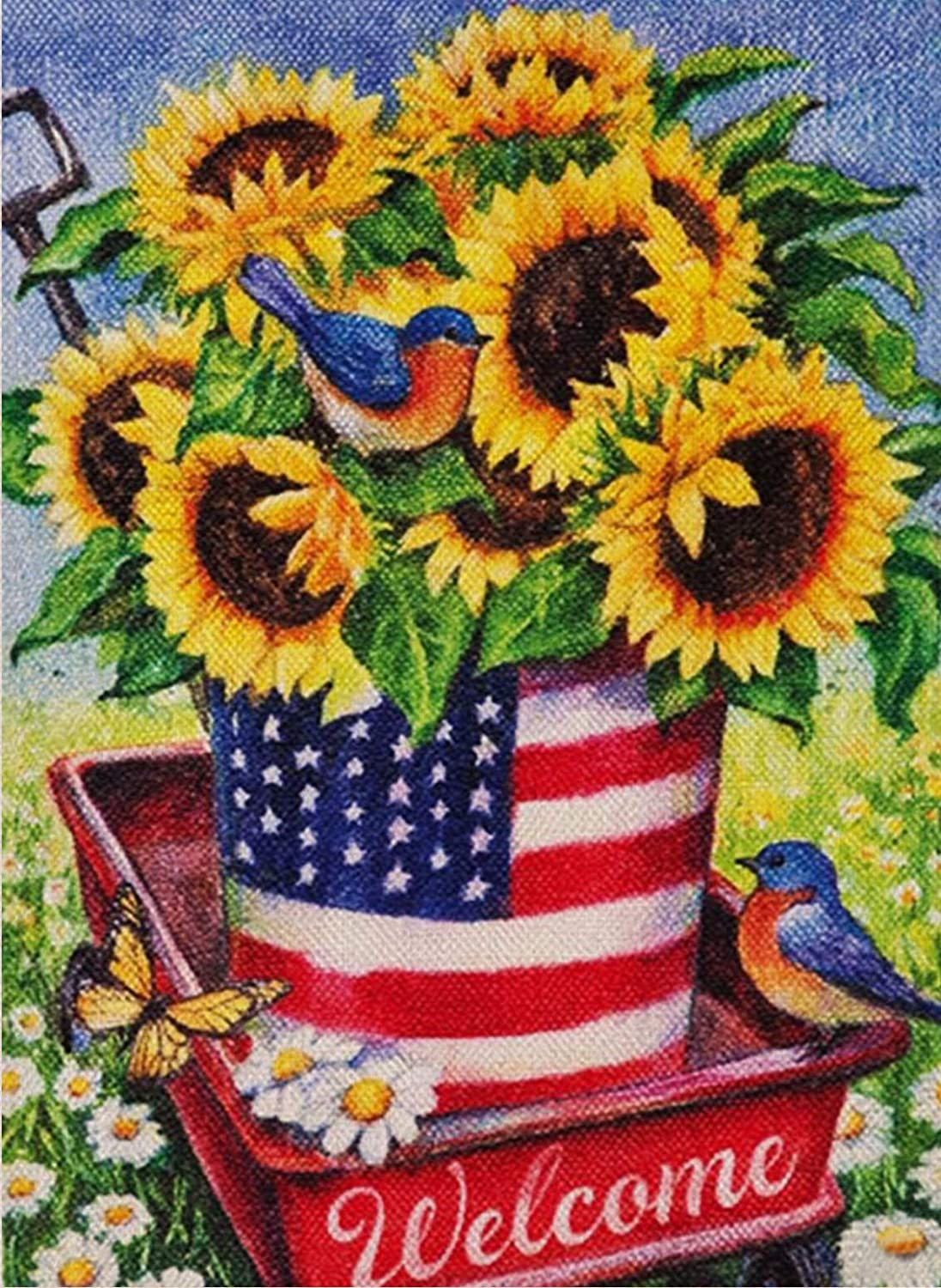 Covido Sunflowers Welcome Garden Flag, USA Home Decorative House Yard Patriotic Decor Sign Bird, Summer Fall American Outside Decoration Autumn Seasonal Outdoor Small July 4th Flag Double Sided 12x18