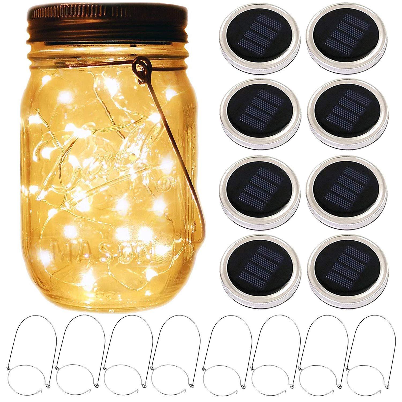 Mason Jar Solar Lantern Lights, 8 Pack 20 Leds Fairy Star Firefly Solar Lids Jar Lights,8 Hangers Included(No Jars),for Mason Jar Wedding Patio Garden Lanterns Table Decor Lights by Yitee
