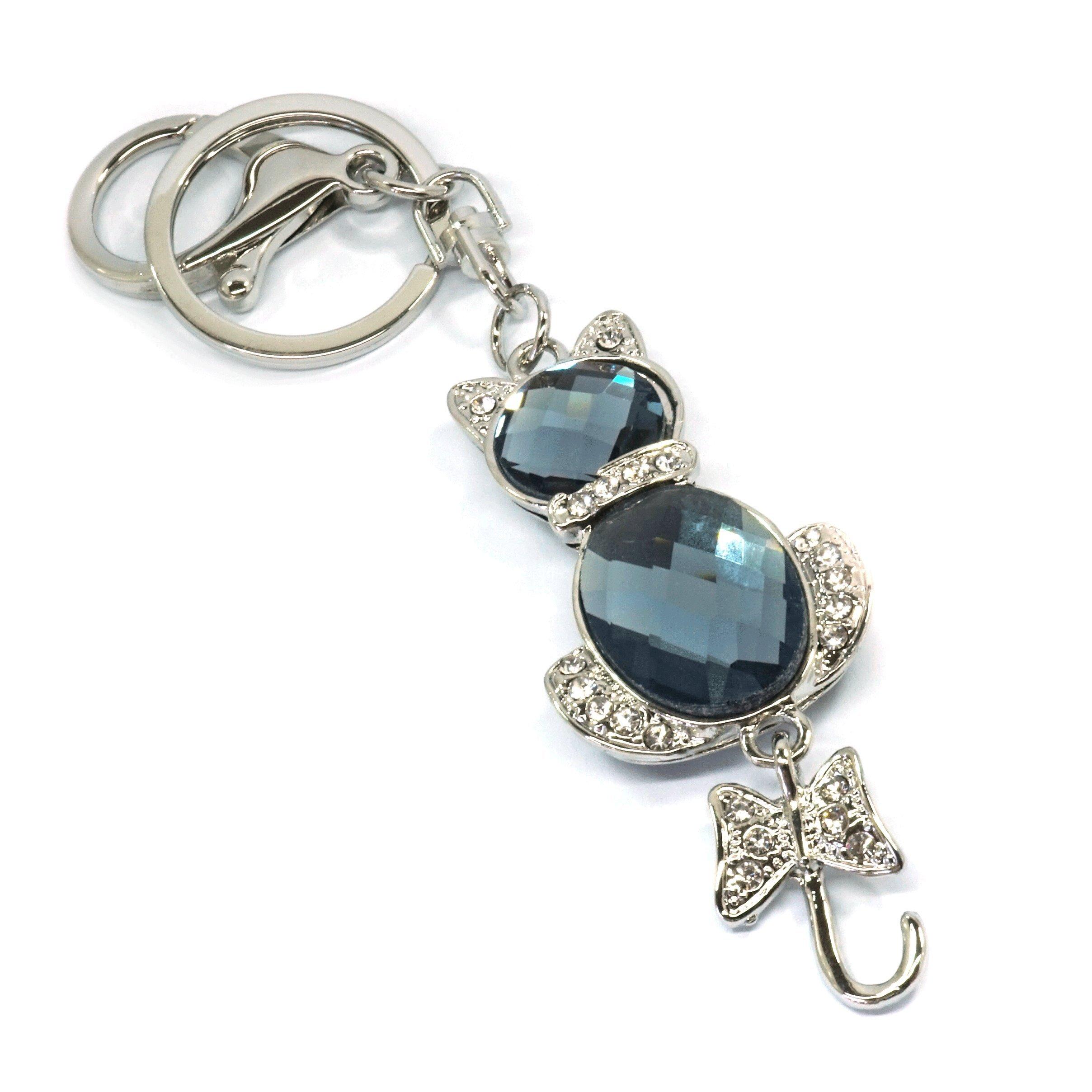 Teri's Boutique Cat Kitty Love Animal Cute Ribbon Tail Rhinestone Jewel Keychain (Silver)