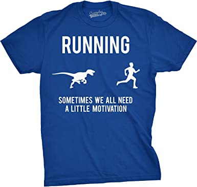 Crazy Dog Tshirts - Mens Running Motivation Raptor Chase T Shirt Funny Dinosaur  Tee for Guys 583f0cbb342